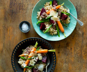 Pearl barley risotto with asparagus