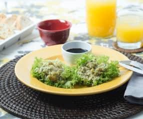 Tacos de lechuga con arroz y camarón