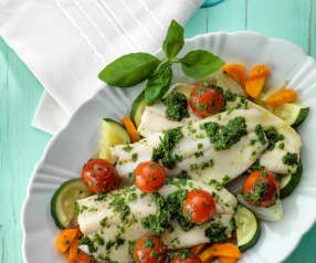 Trout with Pesto, Tomatoes and Vegetables
