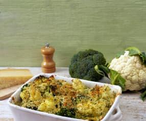 Cauliflower and broccoli gratin