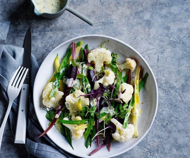Steamed vegetables with kefir dressing (gut health)
