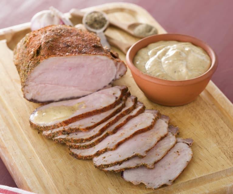 Lomo de cerdo con mayonesa de chimichurri