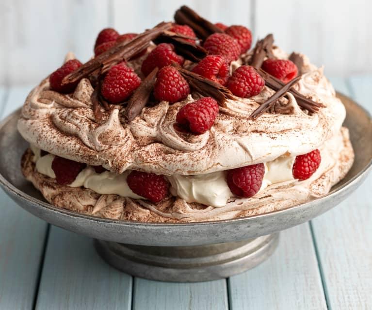 Raspberry and Chocolate Swirl Pavlova (gluten free)