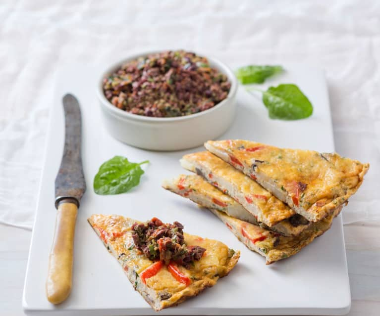 Capsicum and potato tortillas with olive tapenade