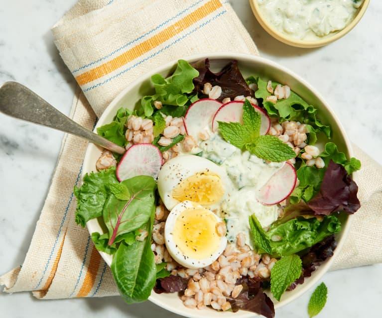 Farro Salad with Cucumber Yogurt Dressing