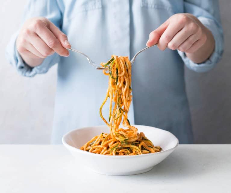 Raw zucchini bolognaise