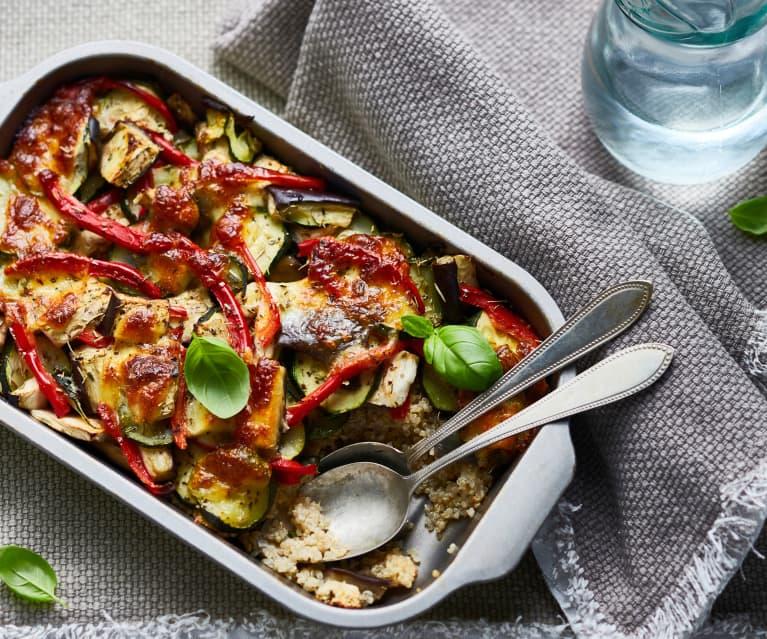 Gratin de légumes au quinoa et à la mozzarella