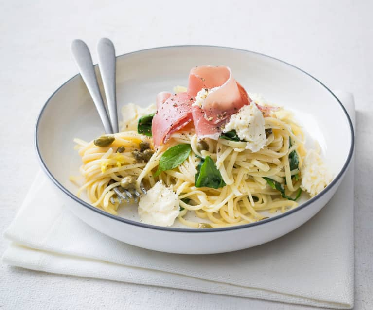 Linguine with lemon and prosciutto
