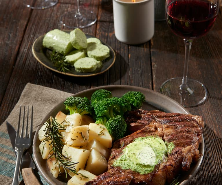 Sirloin Steaks with Herb Butter, Rosemary Potatoes and Broccoli