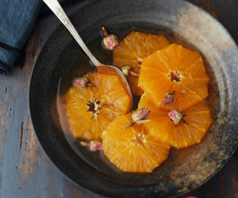 Salade d'orange au thé et à la rose