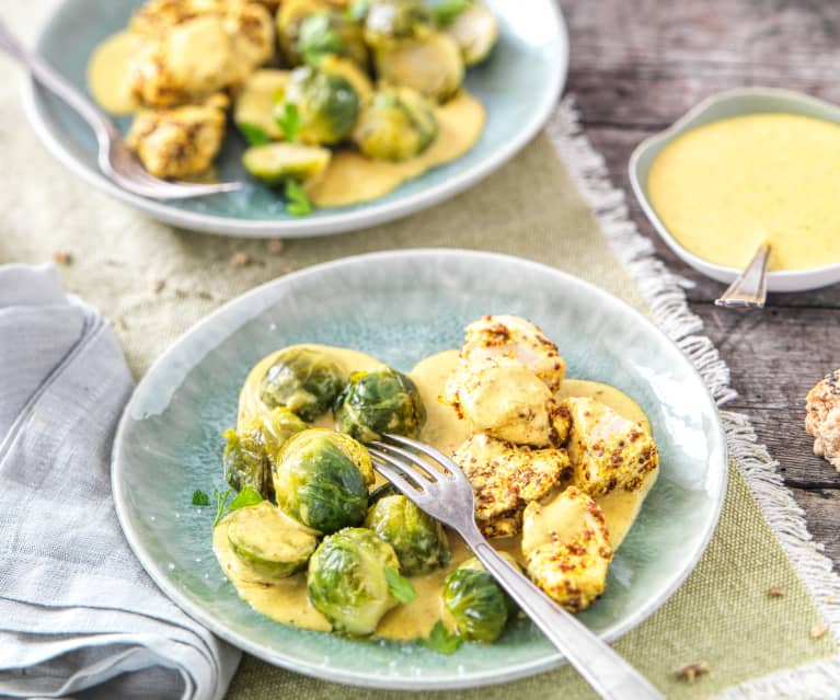 Poulet aux choux de Bruxelles curry moutarde