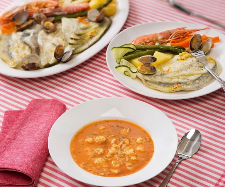 Menú: Sopa de gambas con arroz. Rodaballo con almejas y verduras