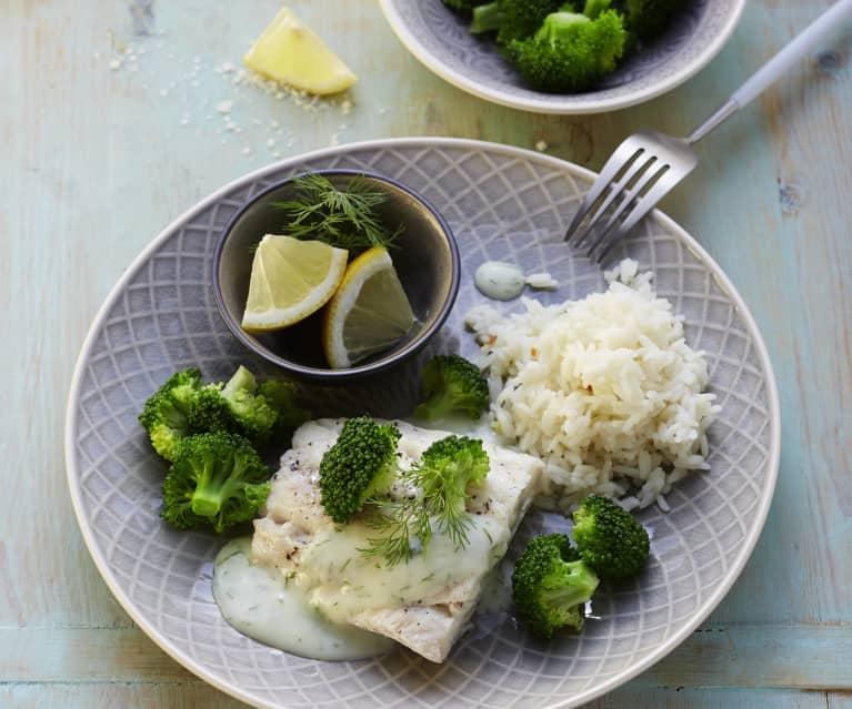 Fischfilet mit Brokkoli, Reis und Dillsauce