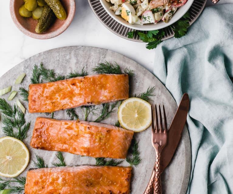 Citrus-Glazed Salmon with Roasted Cauliflower Salad