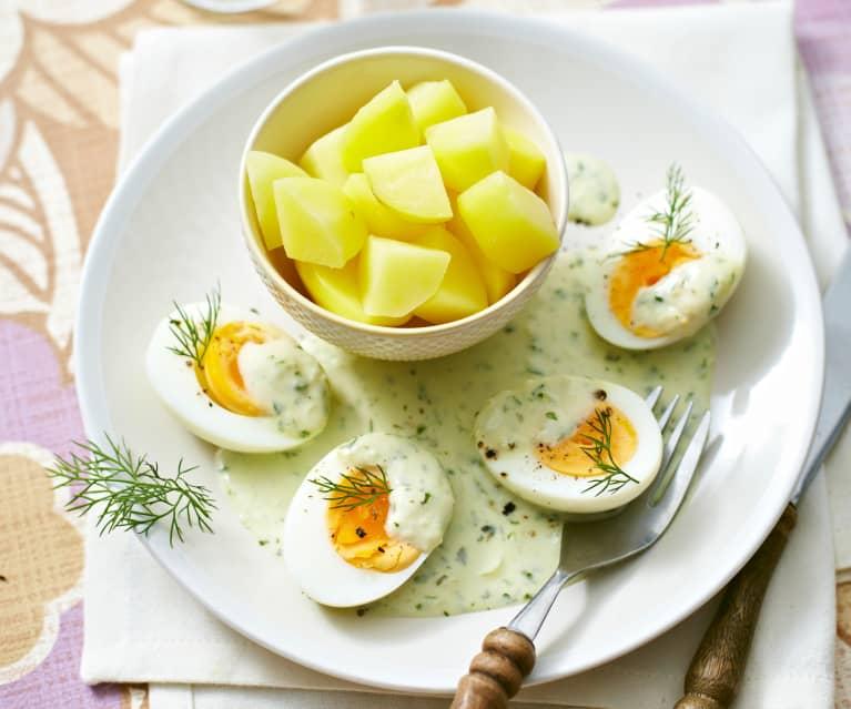 Senf-Kräuter-Eier mit Kartoffeln