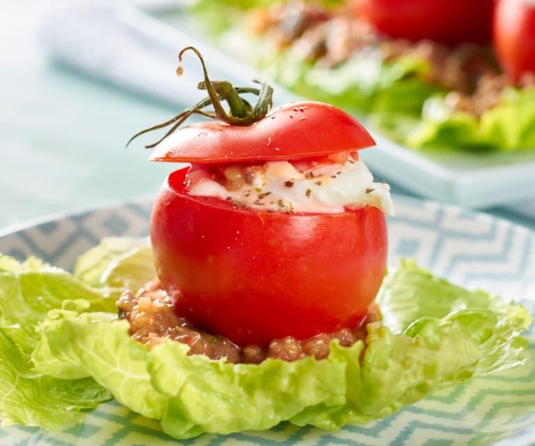 Tomates con burrata y vinagreta de pipas y chía