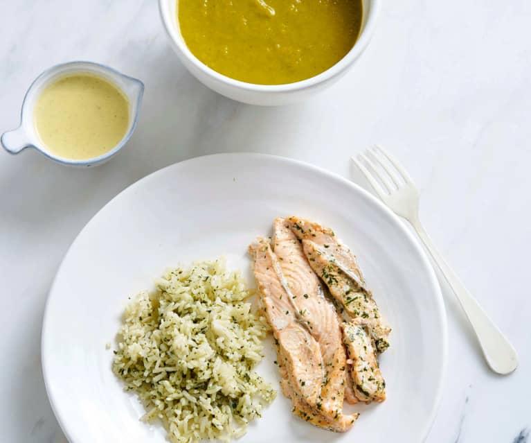 Sopa e salmão com arroz