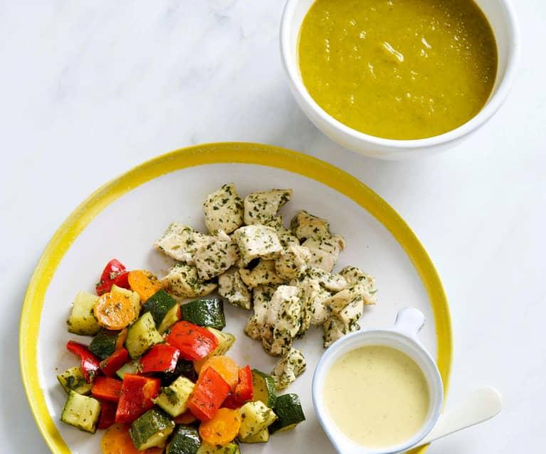 Sopa e frango com legumes