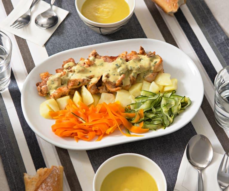 pollo con verduras al vapor calorias