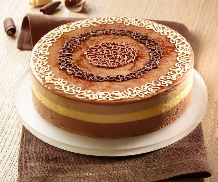 Torta bavarese ai tre cioccolati di Luca Montersino