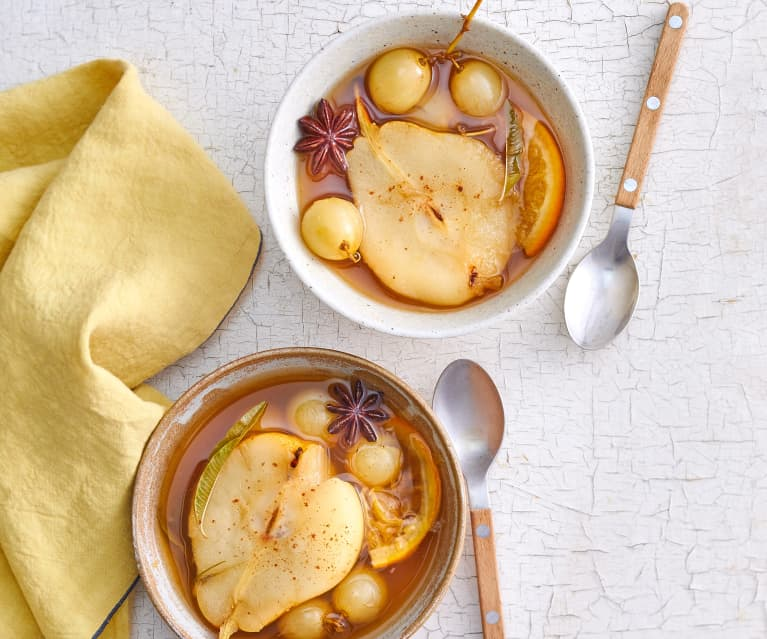 Soupe de poires et raisins