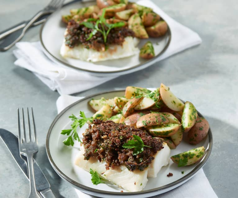 Cod with Crispy Bacon and Parsley Potatoes