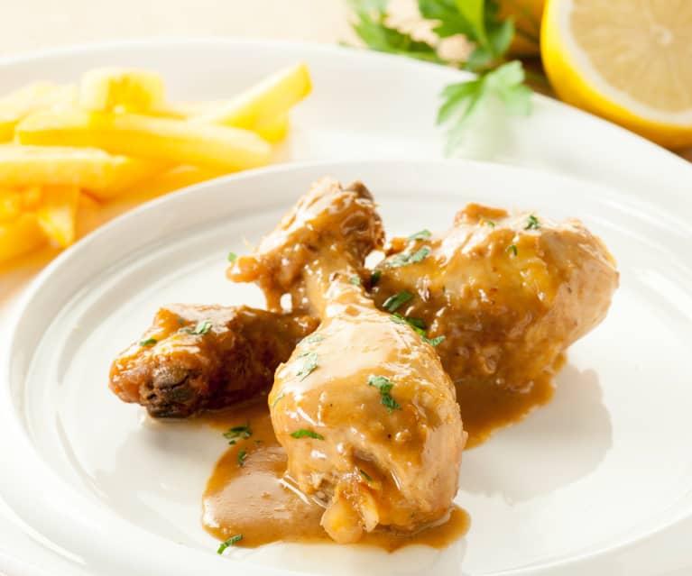 Muslos de pollo con salsa de ajillo