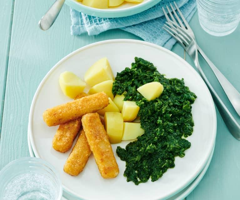 Fischstäbchen mit Kartoffeln und Rahmspinat