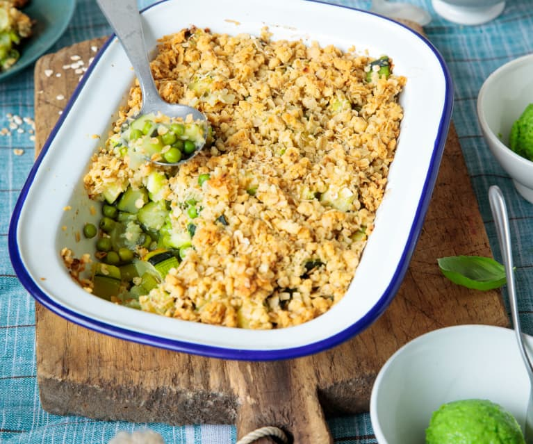 Crumble courgette et petits pois, sorbet au wasabi