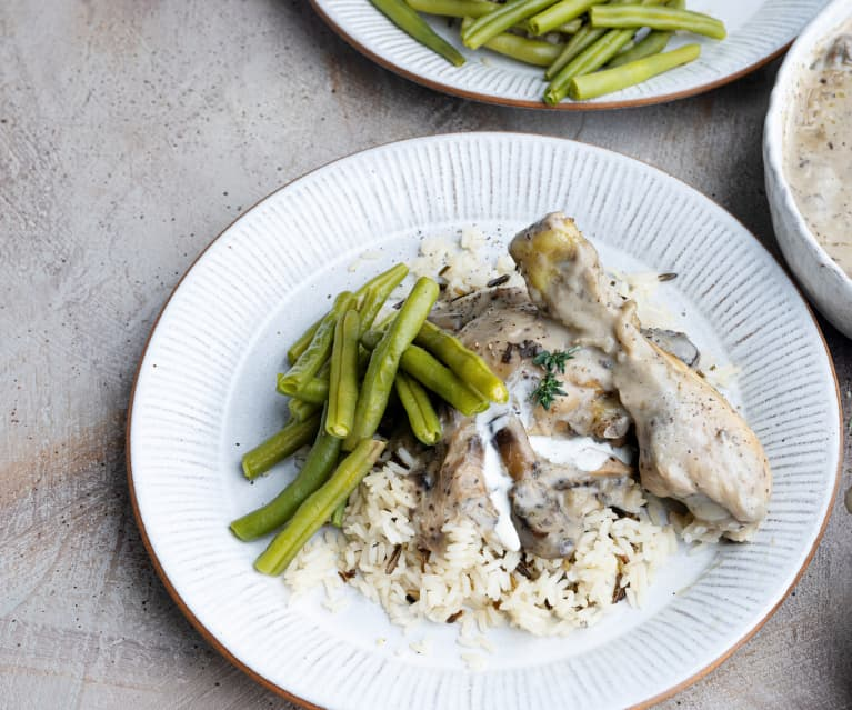 Chicken in Creamy Mushroom Sauce with Wild Rice