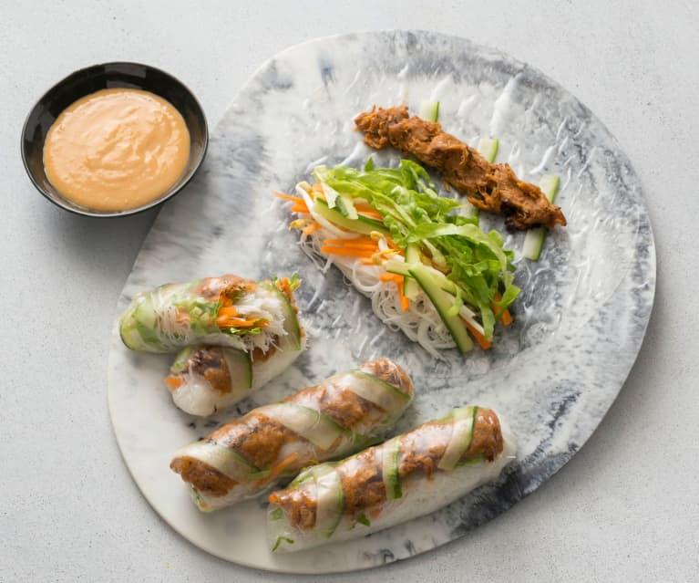 Vietnamese jackfruit rice paper rolls
