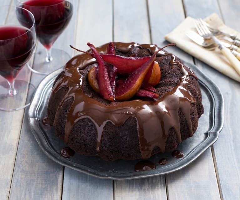 Chocolate and red wine cake with pears