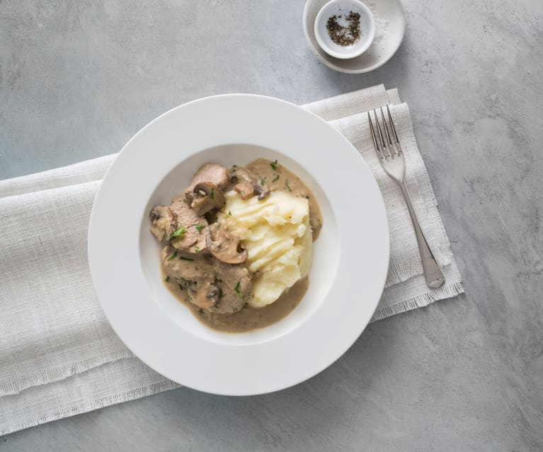 Pork in creamy Marsala wine sauce