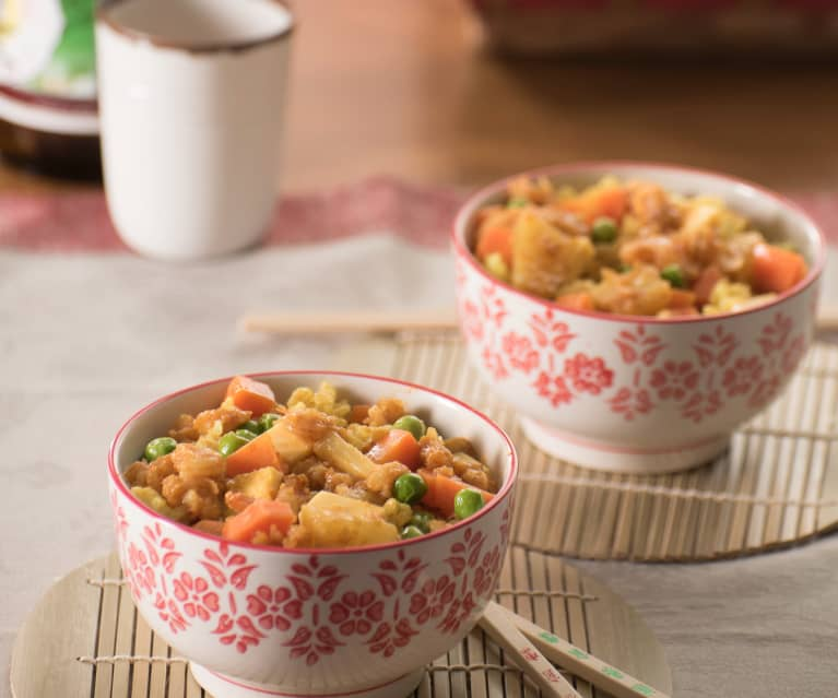 arroz al curry con gambas receta
