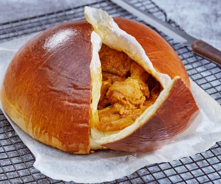 Gefülltes Curry-Hähnchen-Brot