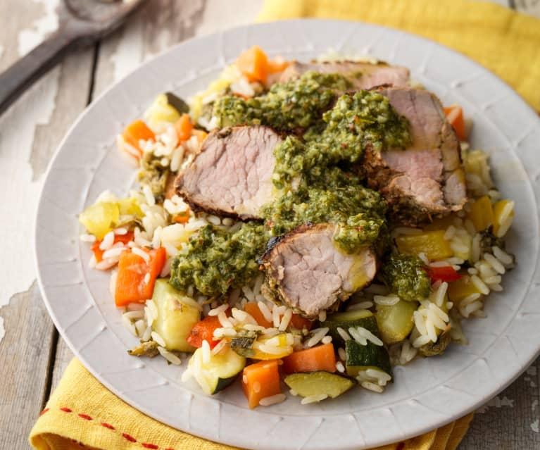 Chimichurri Pork Fillet with Warm Rice Salad