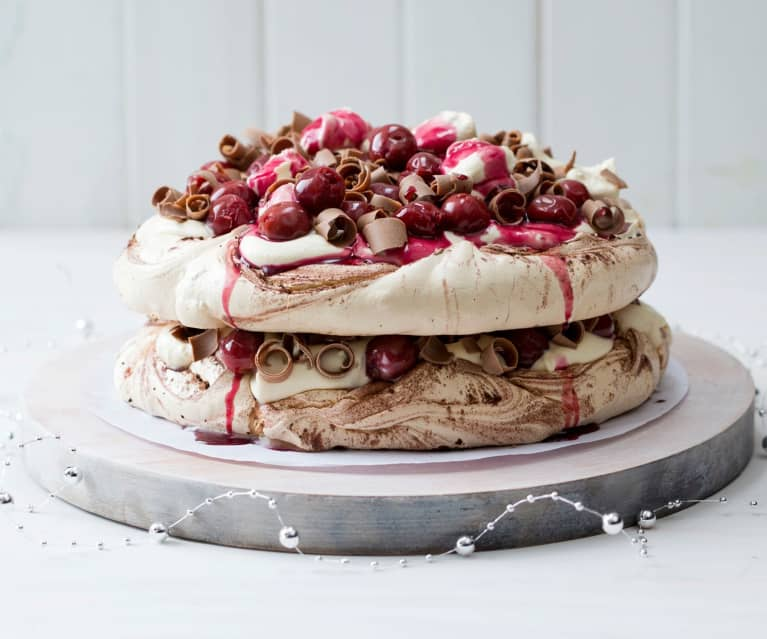Black forest pavlova stack