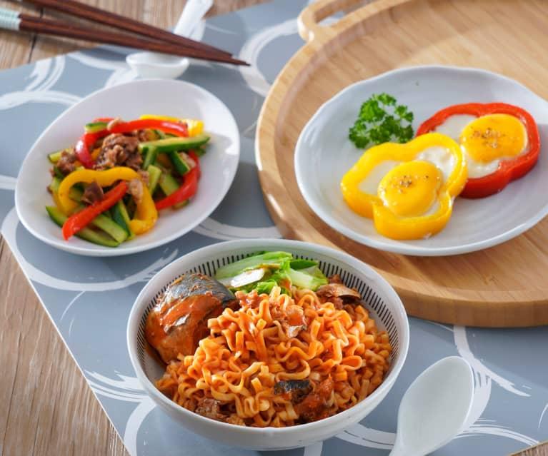 彩椒太陽蛋&茄汁鯖魚拉麵、肉燥炒雙椒