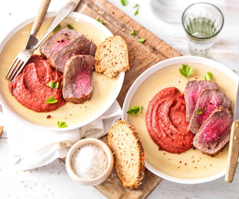 Rôti de bœuf au Varoma, purée de betterave et pomme de terre