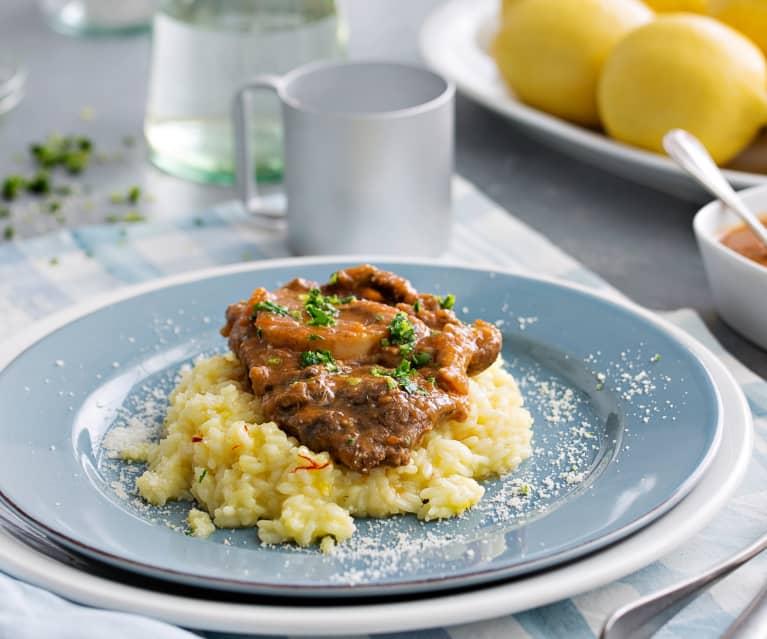 Ossobuco de ternera con risotto al azafrán (Cocción lenta)