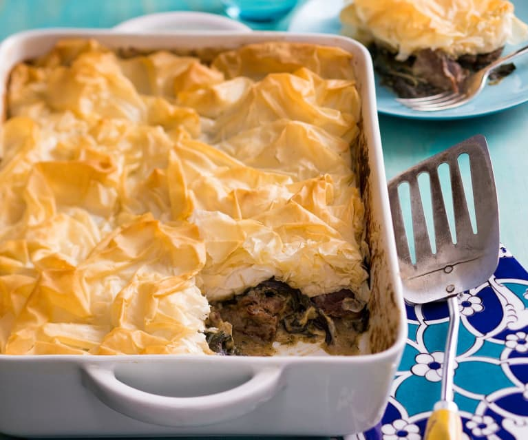 Lemon and lamb pie with filo topping