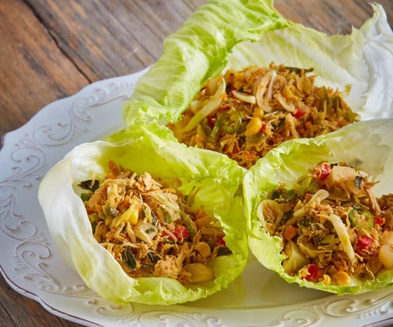 Shredded Chicken and Vegetable Lettuce Cups