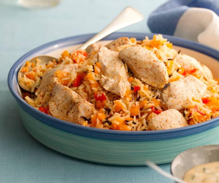 Pollo, riso e verdure al vapore con salsa alla senape