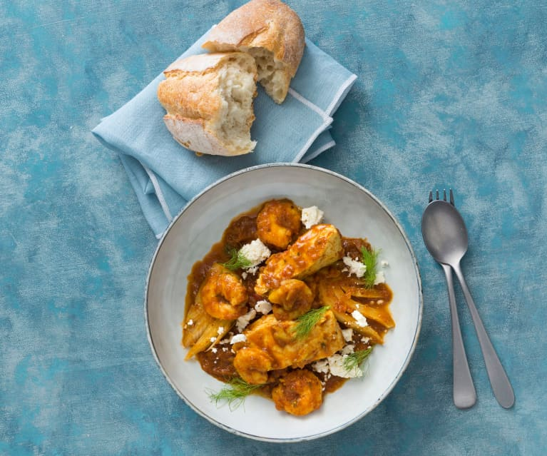 Mediterranean seafood with tomato and fennel