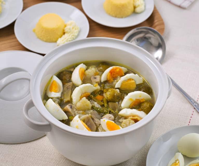 Menú: Menestra de verduras a la sidra. Flan de coco