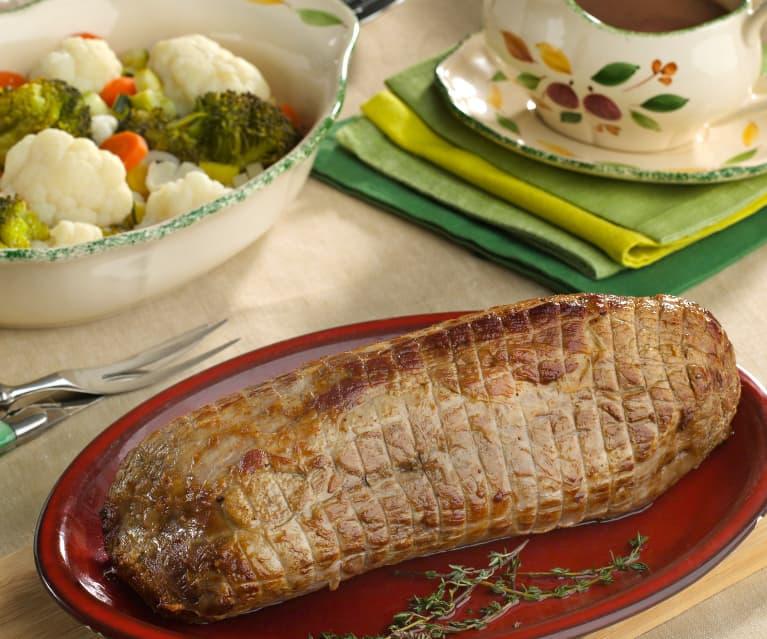 Redondo de ternera asado con verduras
