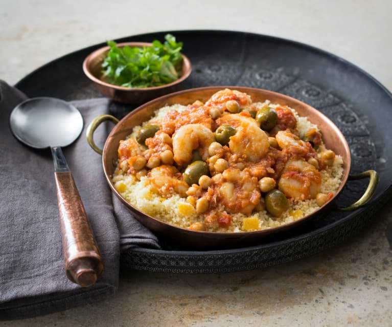 Moroccan prawns with preserved lemon couscous