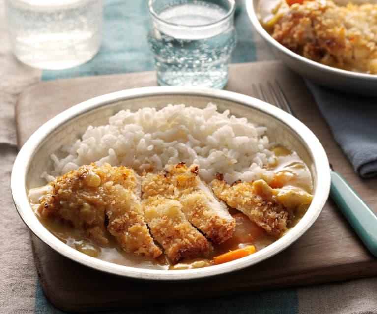 Pechugas de pollo al curry con arroz