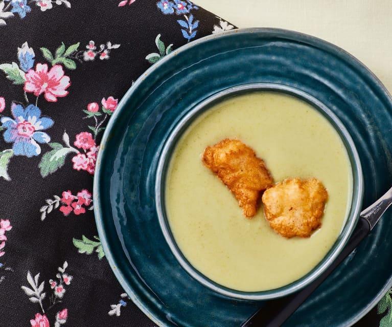 Vellutata di fagiolini con pollo croccante