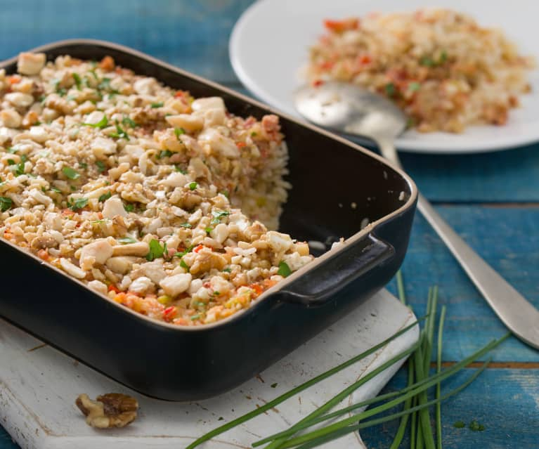 Arroz con gratinado de frutos secos